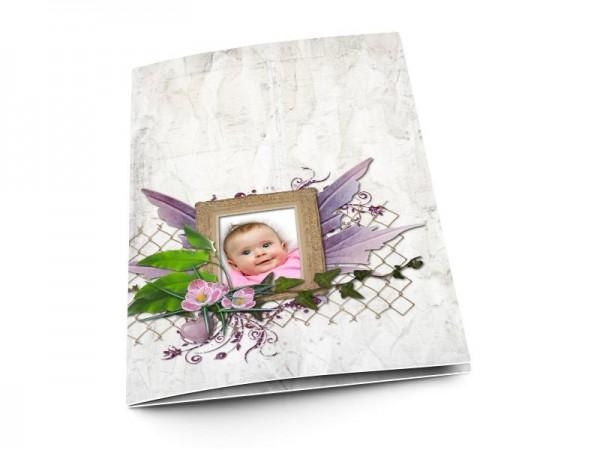 Menu baptême - Ailes violettes
