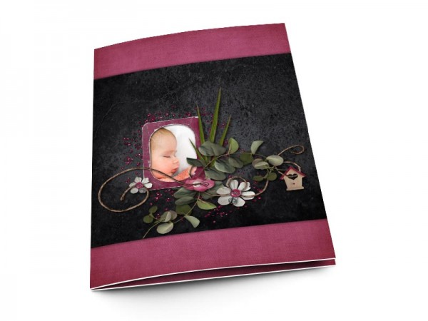 Menu baptême - Noir et pourpre – liane fleurie