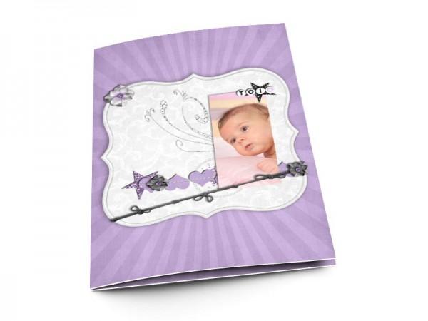 Menu baptême - Gris et violet