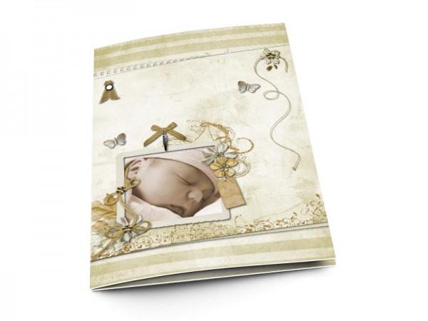 Menu baptême - Rubans d'or et papillons argentés
