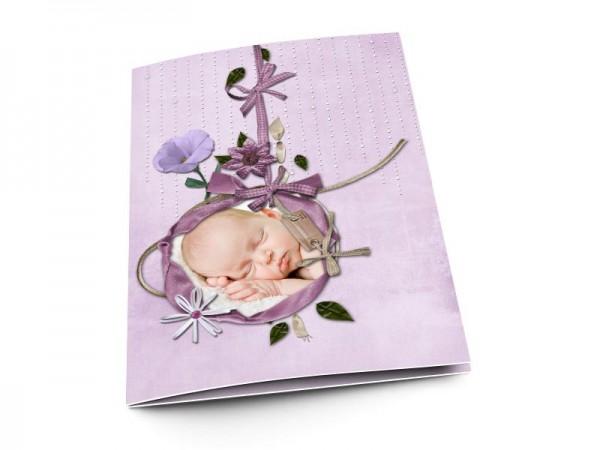 Menu baptême - Ruban violet et fond parme