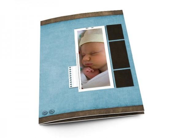 Menu baptême - Photo verticale sur fond bleu