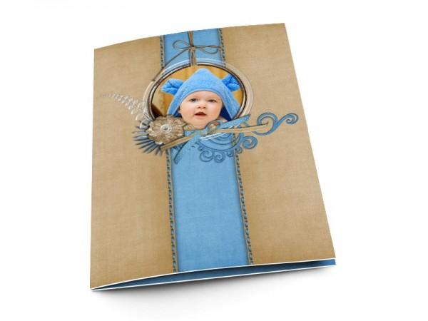 Menu baptême - Le médaillon bleu