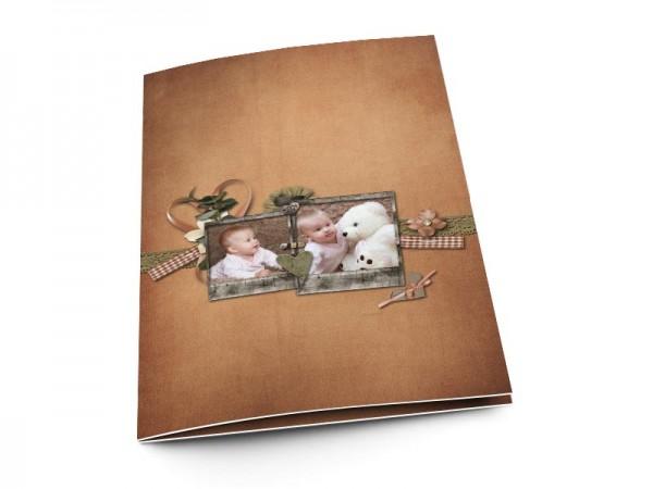 Menu baptême - Deux photos dans un cadre de bois