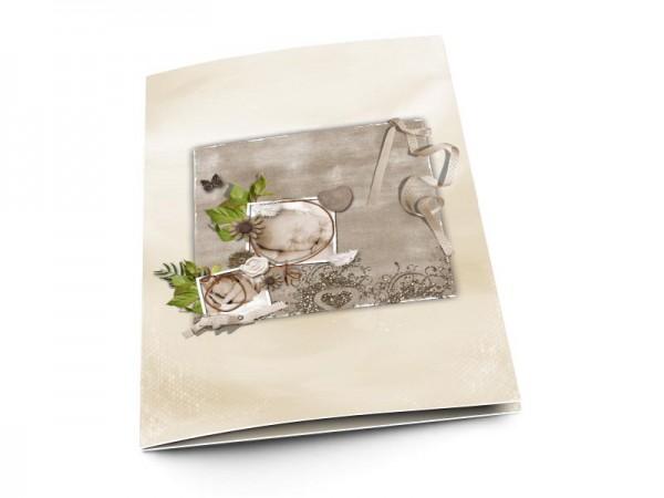 Menu baptême - Gris et ivoire - Papillon et fleurs