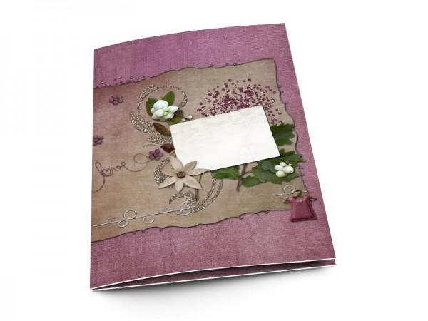 Menu baptême - Fleurs blanches et strass pourpre