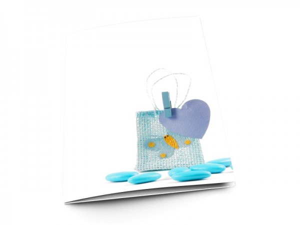 Menu baptême - Sac à dragées bleu