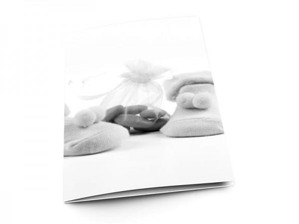 Menu baptême - Chaussons et dragées – effet noir et blanc