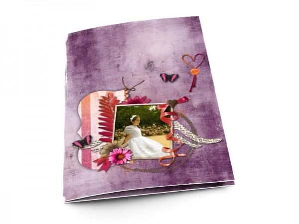Menu communion - Pourpre – papillons et fleur rose
