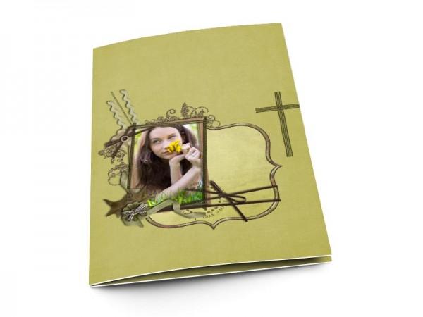 Menu communion - Croix verte et ornements argentés
