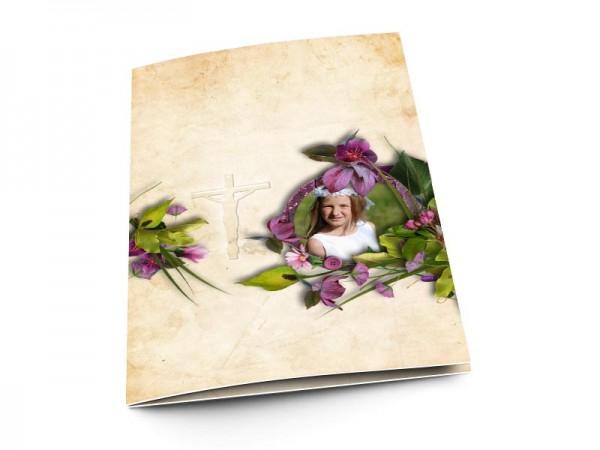 Menu communion - Fleurs violette et sable