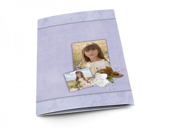 Menu communion - Fleur blanche sur fond violet