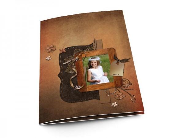 Menu communion - Marron – cadre en bois