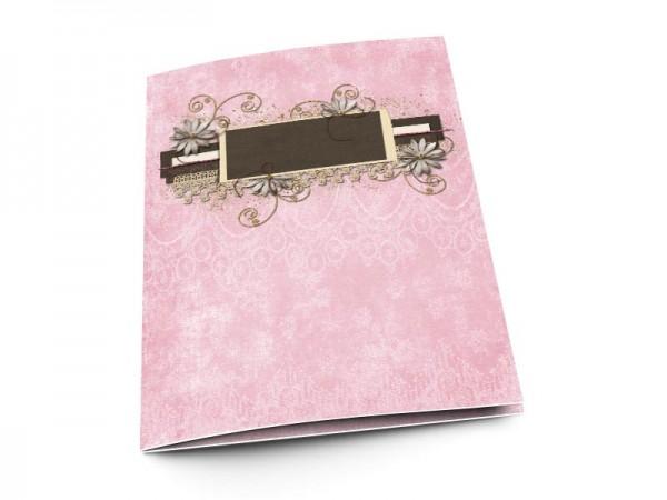 Menu mariage - Fleurs blanches sur fond rose