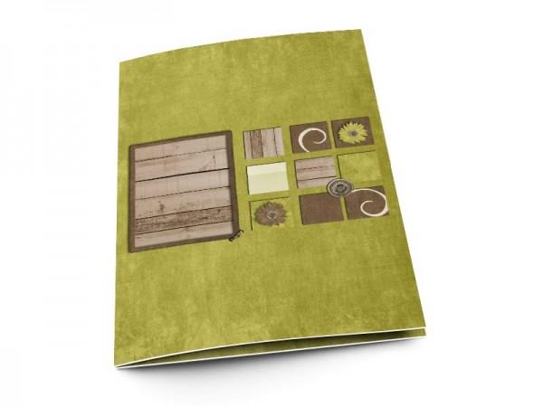 Menu mariage - Vert et bois
