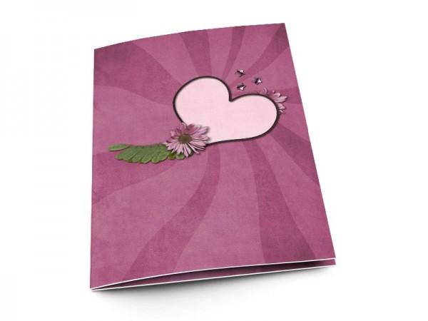 Menu mariage - Deux coeurs enlacés