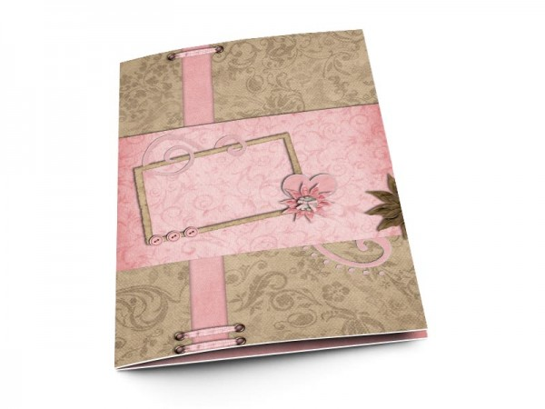 Menu mariage - Coeur rose et fleur chocolat