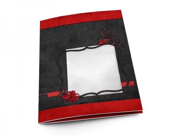 Menu mariage - Fond rouge et cadre noir
