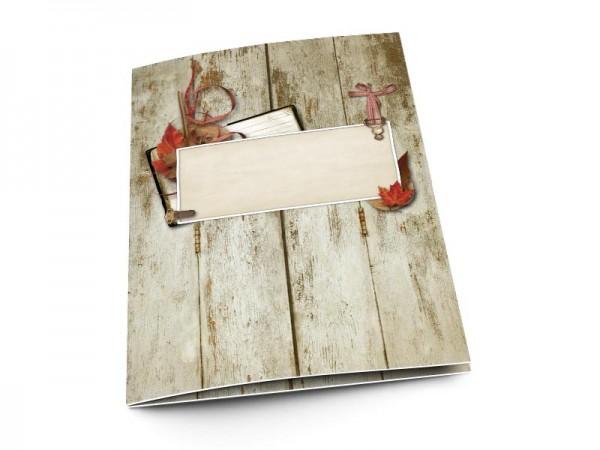 Menu mariage - Feuilles d'automne sur bois