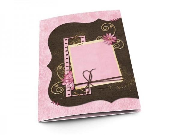 Menu mariage - Fleur rose, or et chocolat