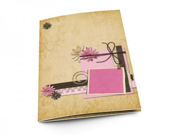 Menu mariage - Fleurs roses et ivoires