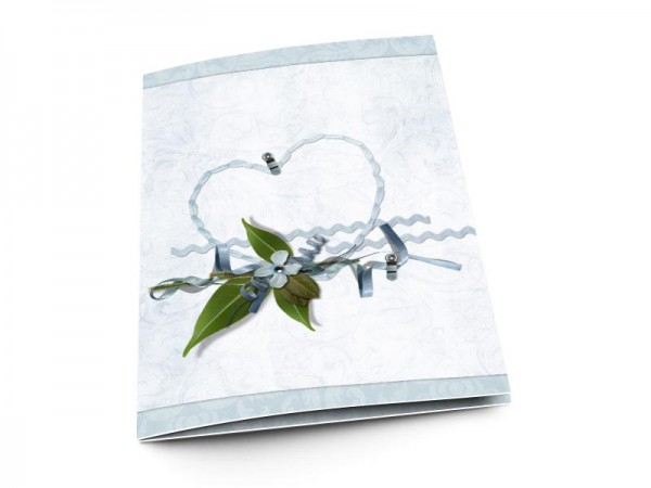 Menu mariage - Coeur bleu