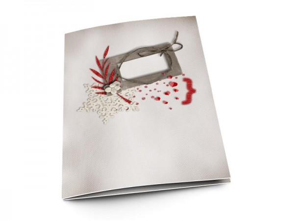 Menu mariage - Fleur blanche sur feuilles rouges