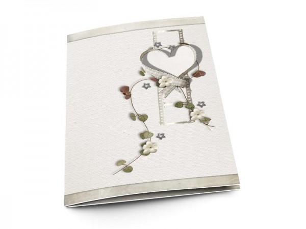 Menu mariage - Coeur blanc, fleurs blanches