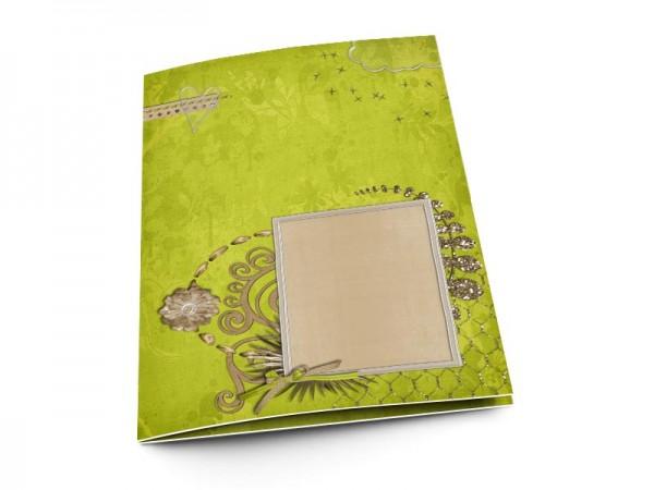 Menu mariage - Volutes sur fond vert
