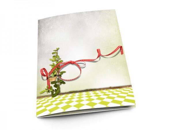 Menu mariage - Ruban rouge et damier vert