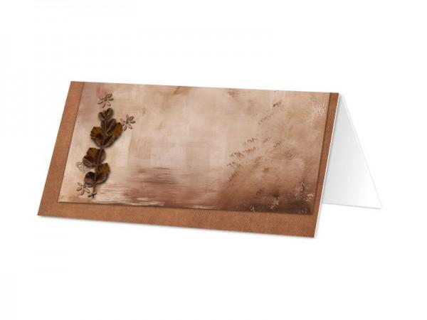 Marque-place baptême - Feuilles marron