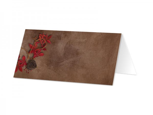 Marque-place baptême - Feuilles rouges sur fond marron