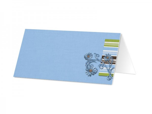 Marque-place baptême - Bleu – ornements floraux et rayures