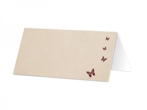 Marque-place baptême - Papillons rouges