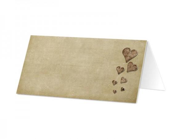 Marque-place baptême - Coeurs marron