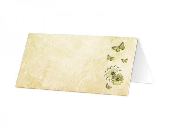 Marque-place baptême - Papillons verts et dentelle