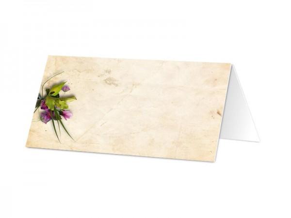 Marque-place communion - Fleurs violette et sable