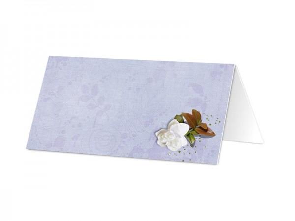 Marque-place communion - Fleur blanche sur fond violet