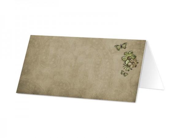Marque-place communion - Croix verte, fleurs et papillons