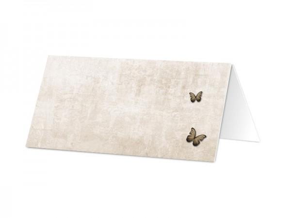 Marque-place communion - Sépia – la fleur et le papillon