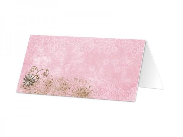 Marque-place mariage - Fleurs blanches sur fond rose