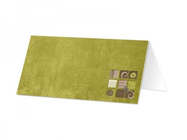 Marque-place mariage - Vert et bois