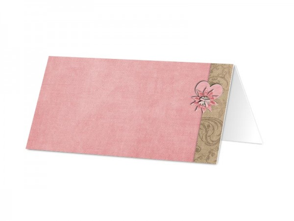 Marque-place mariage - Coeur rose et fleur chocolat