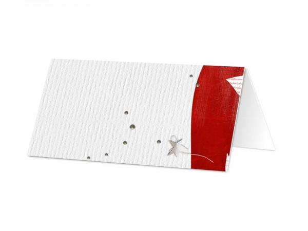 Marque-place mariage - Étoile gris et rouge