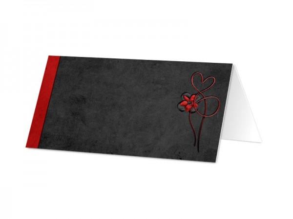Marque-place mariage - Fond rouge et cadre noir