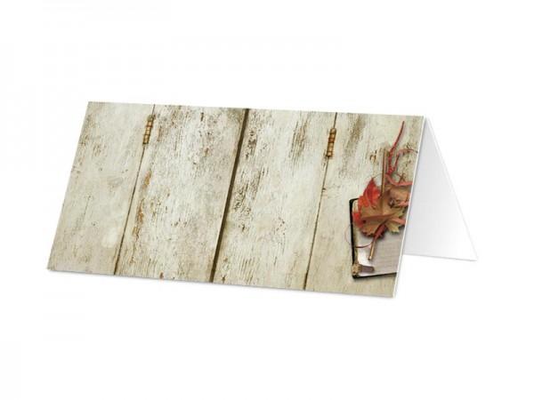 Marque-place mariage - Feuilles d'automne sur bois