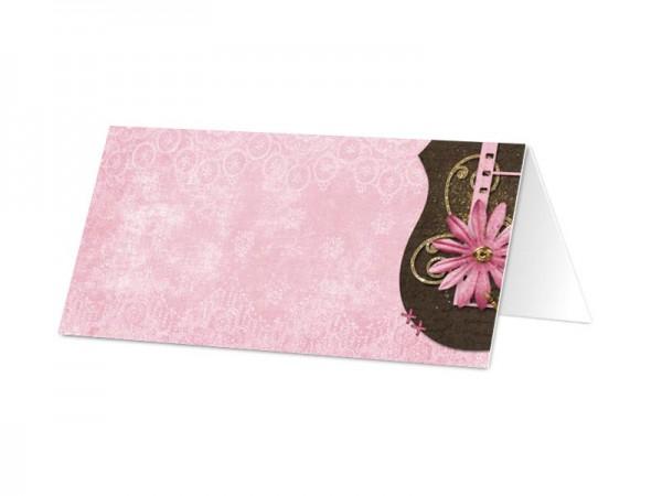 Marque-place mariage - Fleur rose, or et chocolat