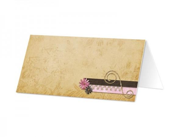 Marque-place mariage - Fleurs roses et ivoires