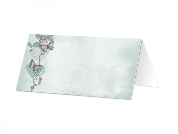 Marque-place mariage - Papillons roses sur fond bleu