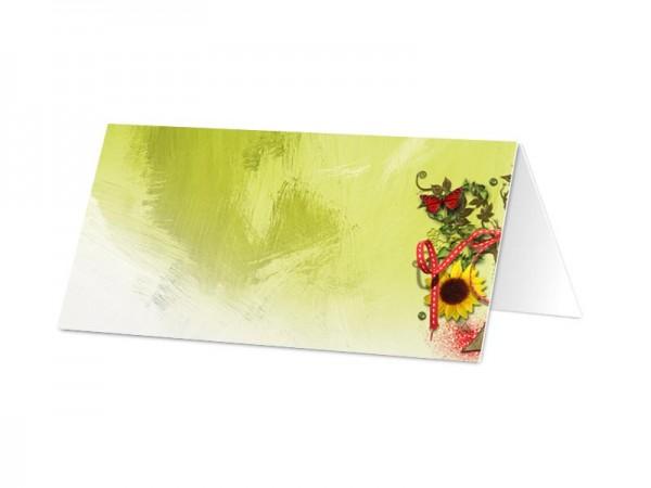 Marque-place mariage - Ruban rouge et papillons multicolores